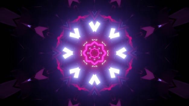 Wibrujący kontrast 3d ilustracji abstrakcyjne wizualne tło ciemnego fantastycznego okrągłego tunelu oświetlonego białymi i różowymi neonami tworzącymi ornament geometryczny