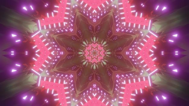 Wibrujący kwiatowy wzór w kształcie abstrakcyjnego tła science fiction z neonowymi różowymi i fioletowymi światłami jako ilustracja 3d