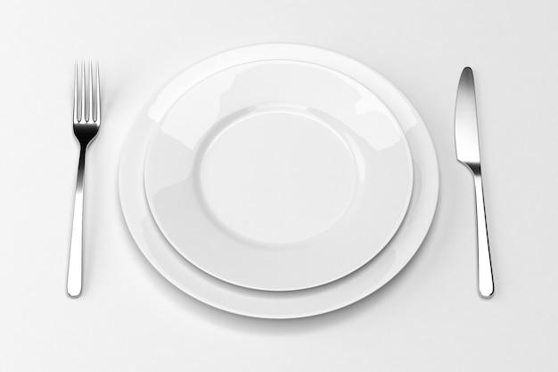 Widelec i nóż z talerzami