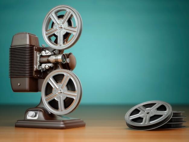 Wideo, koncepcja kina. projektor filmowy vintage i bębny na zielonym tle. 3d