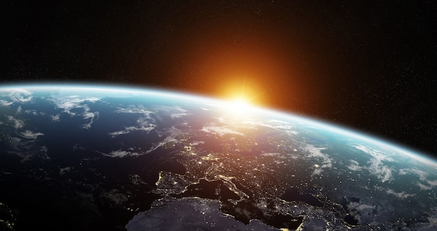 Widok błękitnej planety ziemia w przestrzeni