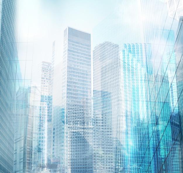 Widok budowy architektonicznej powierzchni nowoczesnego miasta