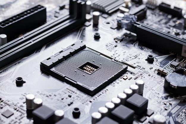 Widok gniazda procesora na płycie głównej komputera pc
