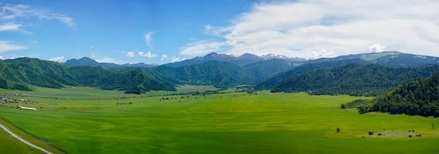 Widok górski z zielonej trawy polem, niebieskim niebem i wioską