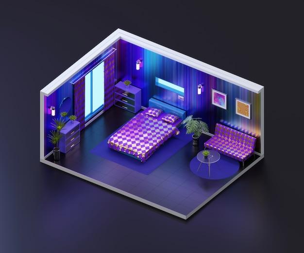 Widok izometryczny nocny pokój otwarty wewnątrz architektury wnętrz, renderowanie 3d.