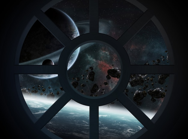 Widok kosmosu z kabiny statku kosmicznego
