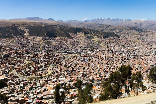 Widok la paz z el alto w boliwii