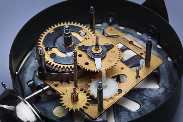 Widok makro mechanizmu zegarowego