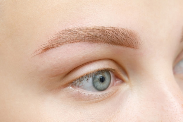 Widok makro oka. efekt makijażu permanentnego, tatuażu brwi w gabinecie kosmetycznym