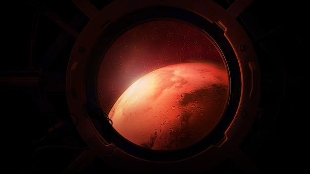 Widok marsa z iluminatora statku kosmicznego