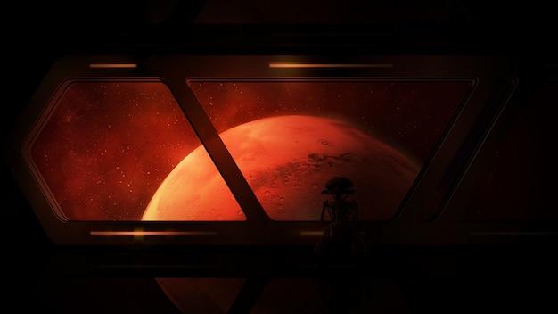 Widok marsa ze statku kosmicznego z droidem na pokładzie.