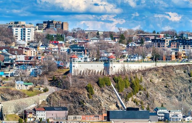 Widok miasta levis z miasta quebec w kanadzie