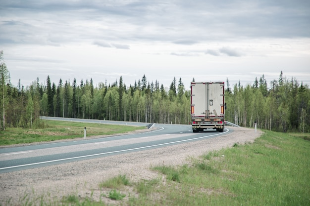 Widok na autostradę wśród lasu