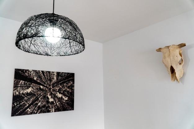 Widok na biały pokój z półkulą lampą, ramą z drzewami i czaszką krowy na ścianie
