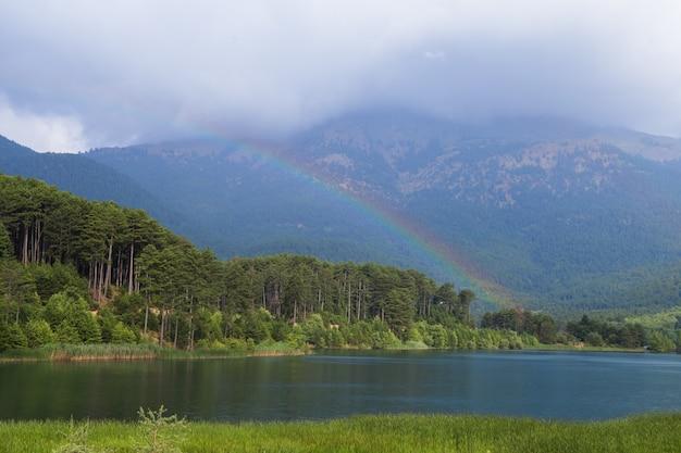 Widok na błękitne, czyste, górskie jezioro doxa (grecja, region corinthia, peloponez) na letni, słoneczny dzień.