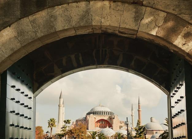 Widok na błękitny meczet, wejście do meczetu sulejmana wspaniałego, stambuł, turcja.