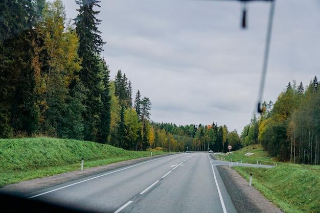 Widok na drogę i jesienny las przez okno autobusu wycieczka samochodem