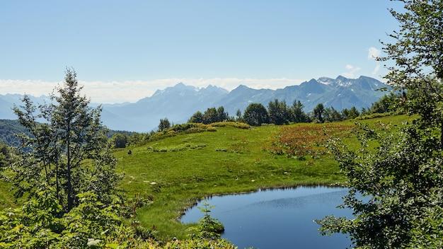 Widok na górskie jezioro i las, achisho, sochi