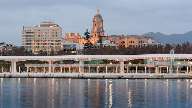 Widok na katedrę malagi i pałacu malagi hotel z portu w maladze w hiszpanii