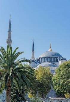 Widok na kopułę i minaret meczetu sułtana ahmeta, znanego również jako błękitny meczet w stambule