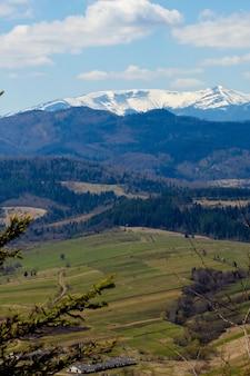 Widok na krajobraz karpat w pochmurny letni dzień. szczyty górskie, lasy, pola i łąki, piękny naturalny krajobraz.