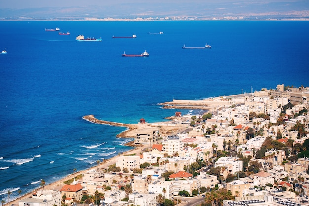 Widok na linię brzegową hajfy, izrael