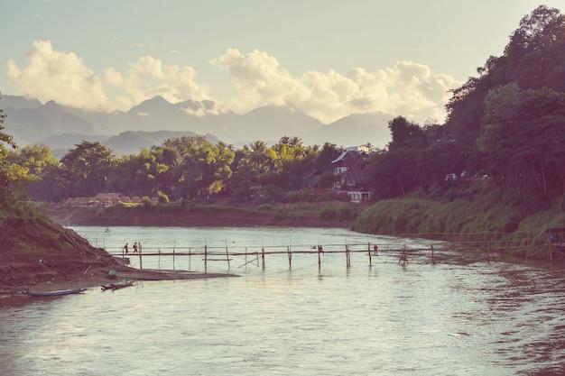 Widok na luang prabang z góry, laos