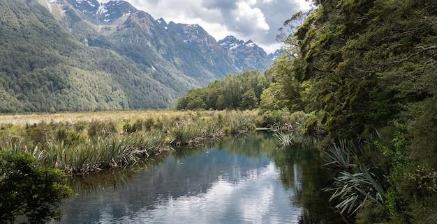 Widok na małe jezioro otoczone drzewami po prawej stronie i górami po lewej lustrzane jeziora nowa zelandia