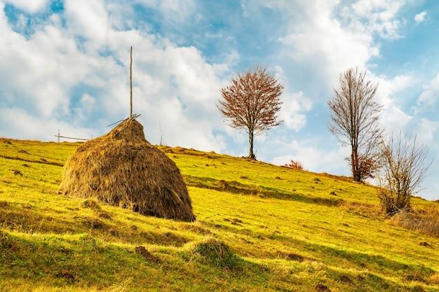 Widok na malowniczy krajobraz z jasnym kolorowym niebem nad mglistymi górami. majestatyczny wschód słońca w mglistej porannej dolinie ze stogu siana na wzgórzu użytków zielonych. pojęcie natury.