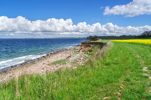 Widok na morze na wybrzeżu wyspy ven, skania, szwecja