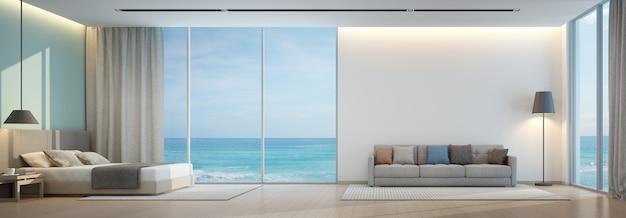 Widok na morze sypialnia i salon w luksusowym domku na plaży