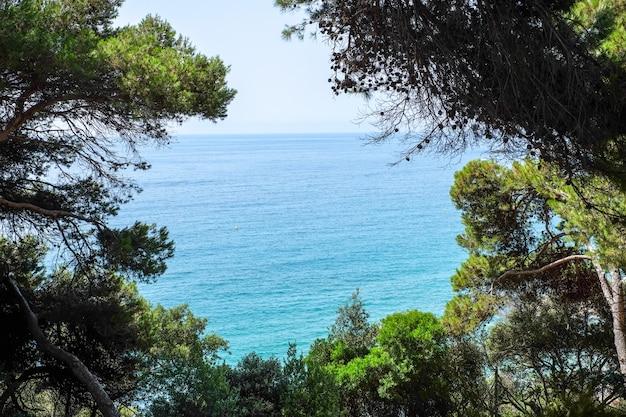 Widok na morze z ogrodów santa clotilde w katalonii
