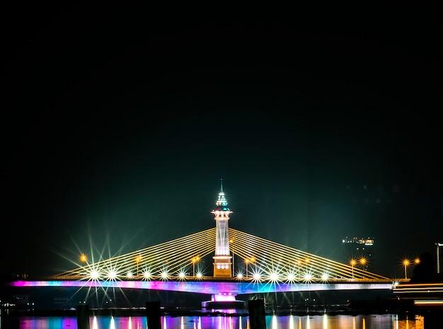 Widok na nocną scenerię miasta w tajlandii z pięknymi odbiciami drapaczy chmur i mostów nad rzeką o zmierzchu. widok na pejzaż mostu przecina rzekę chao phraya