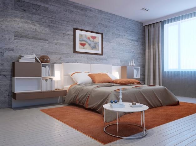 Widok na nowoczesne wnętrze sypialni