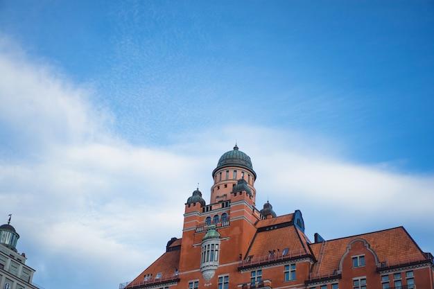 Widok na panoramę miasta. krajobrazy sztokholmu w szwecji.