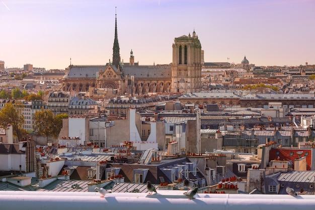 Widok na paryż z katedrą notre dame, francja