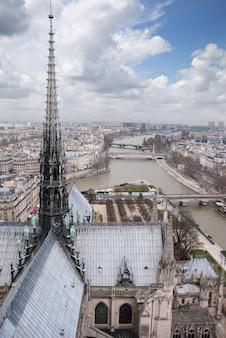 Widok na paryż z notre dame we francji