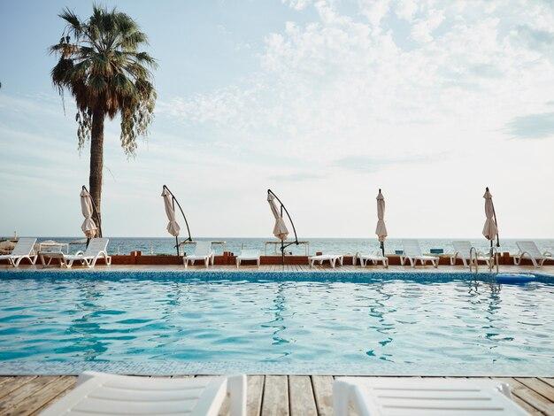 Widok na piękny hotel z palmami nad morzem