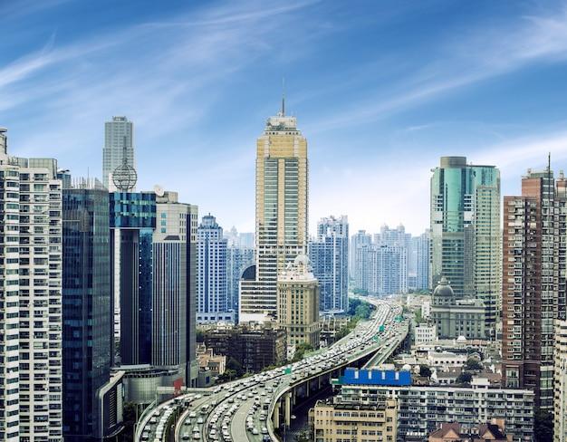 Widok na pudong new area, szanghaj, chiny