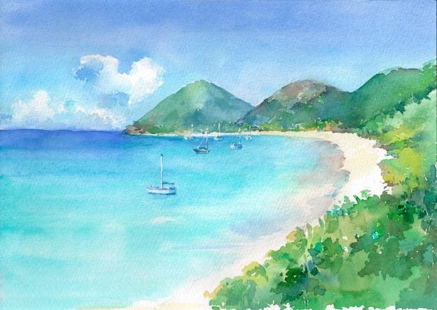 Widok na rajską zatokę z turkusową wodą morską i białą piaszczystą plażą.