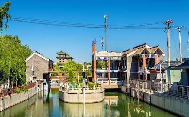 Widok na rzekę nanchang w pekinie, chiny
