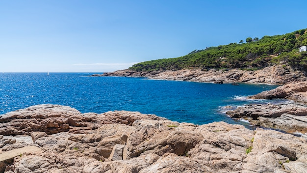 Widok na skaliste wybrzeże w pobliżu plaży tamariu.