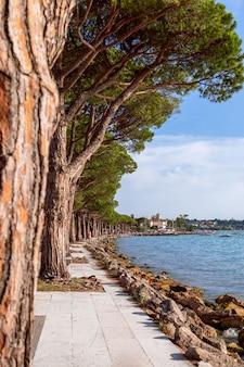 Widok na słynną promenadę nad jeziorem garda pomiędzy miastami lazise i bardolino
