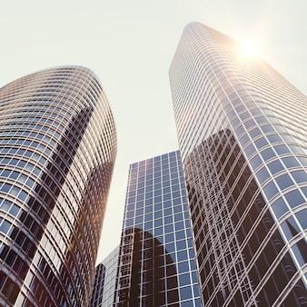 Widok na szklany budynek, wieżowiec