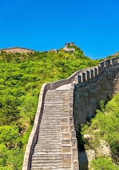 Widok na wielki mur w badaling - pekin, chiny