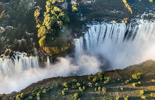 Widok na wodospady z lotu ptaka