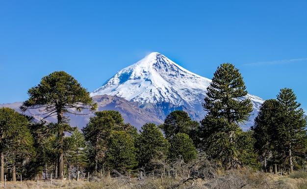 Widok na wulkan lanin z drogi do jeziora tromen w neuquen w argentynie. ten wulkan pokryty jest wiecznym śniegiem.