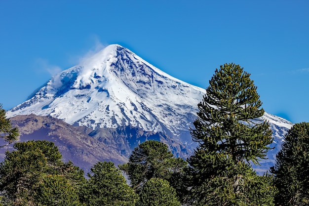 Widok na wulkan lanin z drogi do jeziora tromen w neuquen w argentynie.