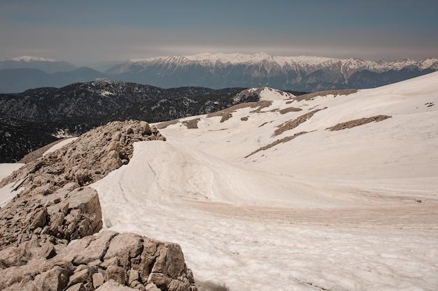 Widok na wyżyny pokryte śniegiem