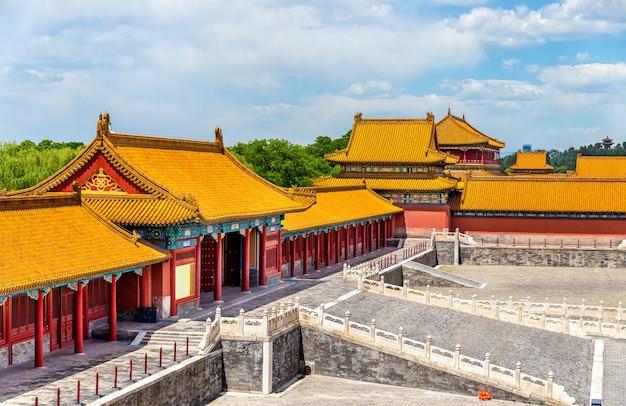 Widok na zakazane miasto lub muzeum pałacowe - pekin, chiny